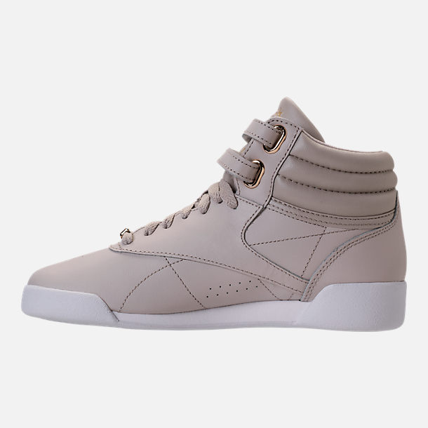 Left view of Girls' Grade School Reebok Freestyle Hi Muted Casual Shoes in Sandstone