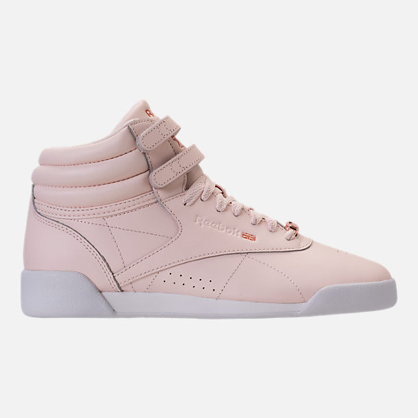 Right view of Girls' Grade School Reebok Freestyle Hi Muted Casual Shoes in Pale Pink