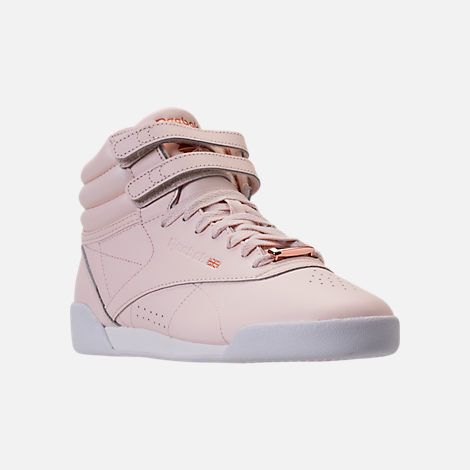 Three Quarter view of Girls' Grade School Reebok Freestyle Hi Muted Casual Shoes in Pale Pink