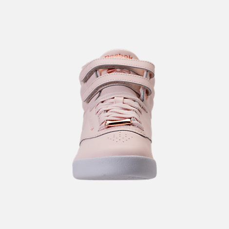 Front view of Girls' Grade School Reebok Freestyle Hi Muted Casual Shoes in Pale Pink