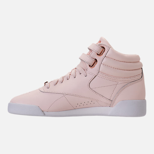Left view of Girls' Grade School Reebok Freestyle Hi Muted Casual Shoes in Pale Pink