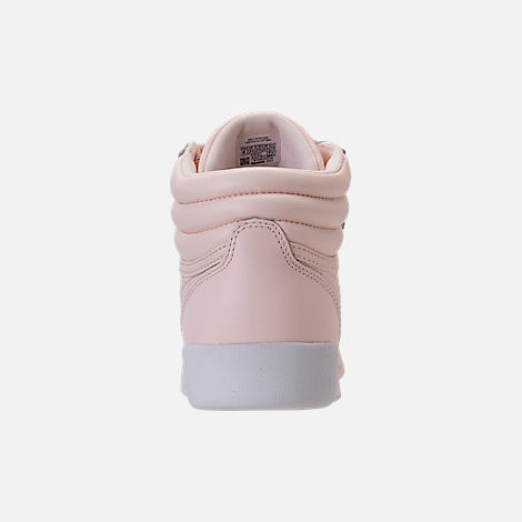 Back view of Girls' Grade School Reebok Freestyle Hi Muted Casual Shoes in Pale Pink