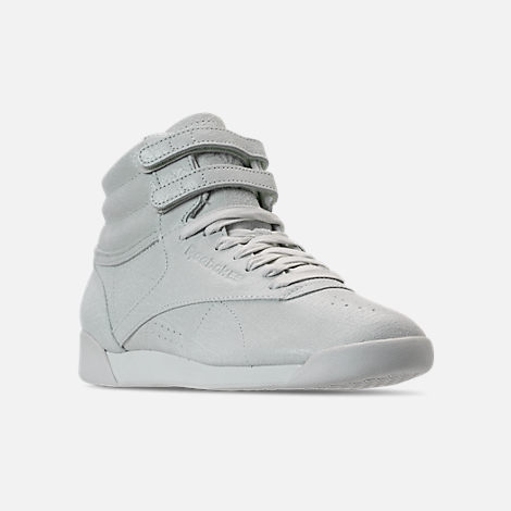 bc4c179e982 Three Quarter view of Women s Reebok Freestyle Hi Casual Shoes in White