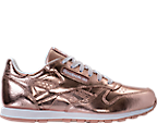 Girls' Grade School Reebok Classic Leather Metallic Casual Shoes