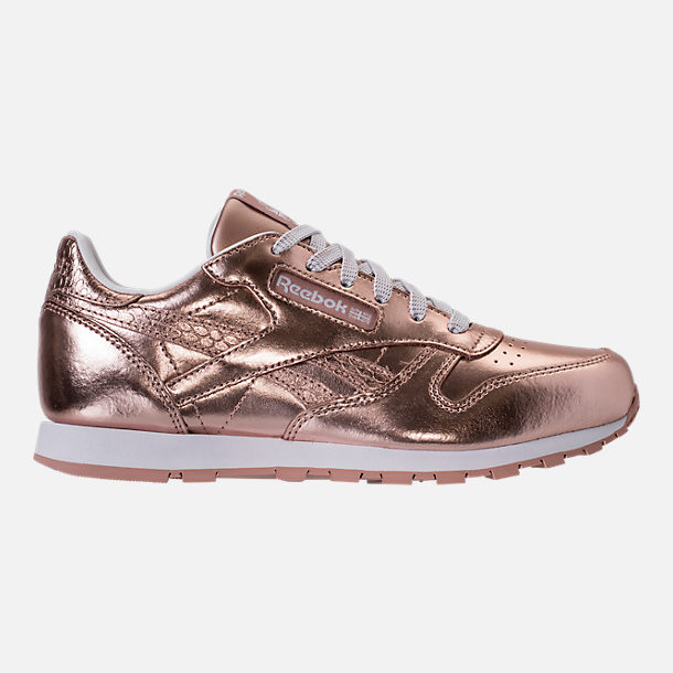Right view of Girls' Grade School Reebok Classic Leather Metallic Casual Shoes in Rose Gold/White