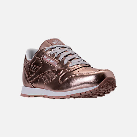 Three Quarter view of Girls' Grade School Reebok Classic Leather Metallic Casual Shoes in Rose Gold/White