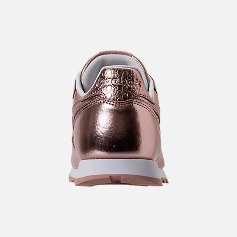 Back view of Girls' Grade School Reebok Classic Leather Metallic Casual Shoes in Rose Gold/White