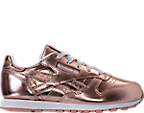 Girls' Preschool Reebok Classic Leather Metallic Casual Shoes