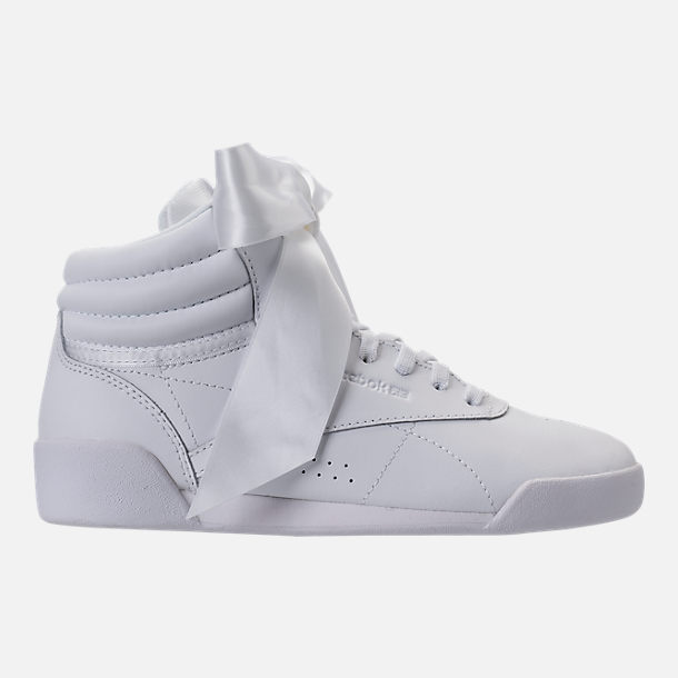 Right view of Girls' Preschool Reebok Freestyle Hi Satin Bow Casual Shoes in White