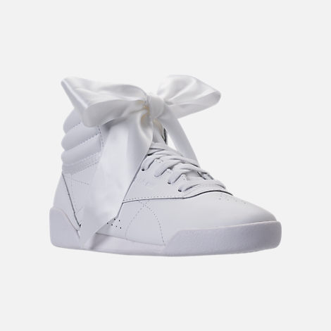 Three Quarter view of Girls' Preschool Reebok Freestyle Hi Satin Bow Casual Shoes in White