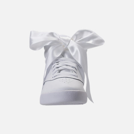 Front view of Girls' Preschool Reebok Freestyle Hi Satin Bow Casual Shoes in White