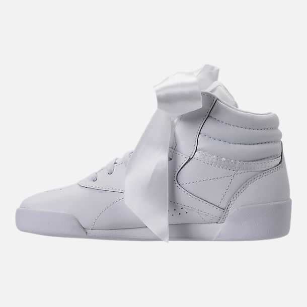 Left view of Girls' Preschool Reebok Freestyle Hi Satin Bow Casual Shoes in White
