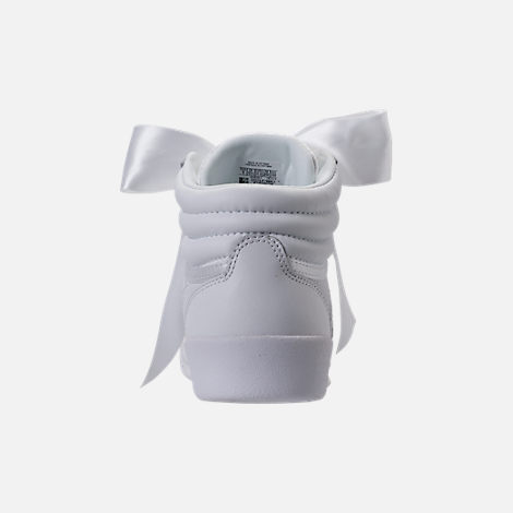 Back view of Girls' Preschool Reebok Freestyle Hi Satin Bow Casual Shoes in White