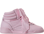 Girls' Preschool Reebok Freestyle Hi Satin Bow Casual Shoes
