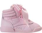 Girls' Toddler Reebok Freestyle Hi Satin Bow Casual Shoes