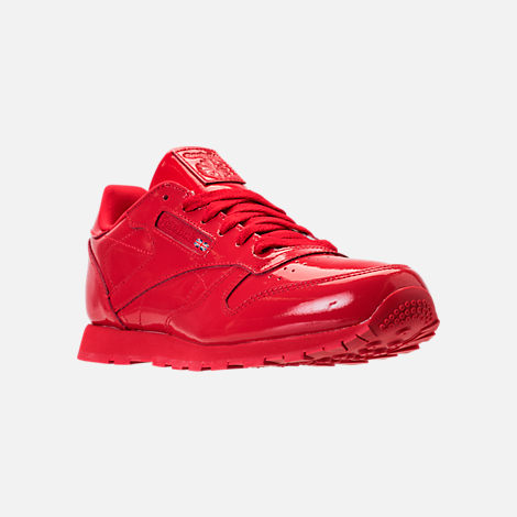 Three Quarter view of Girls' Grade School Reebok Classic Leather Casual Shoes in Red