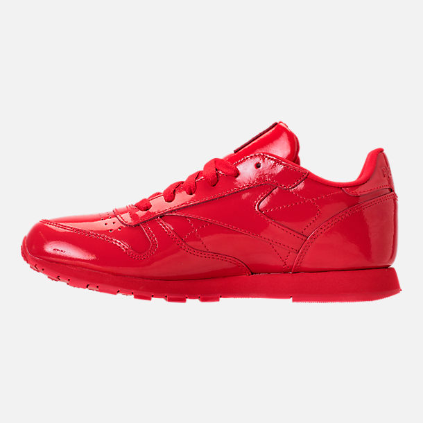 Left view of Girls' Grade School Reebok Classic Leather Casual Shoes in Red