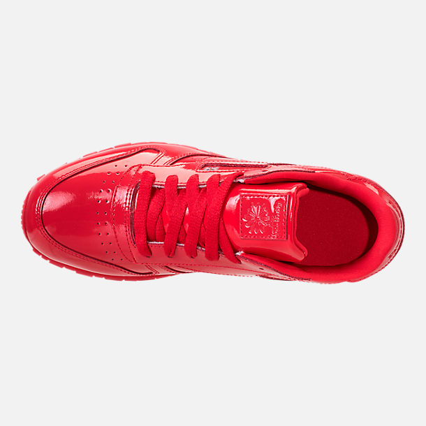 Top view of Girls' Grade School Reebok Classic Leather Casual Shoes in Red