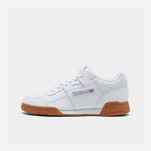 542081db3e1 Right view of Men s Reebok Workout Plus Casual Shoes in White Carbon Classic  Red