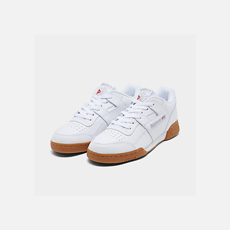d4a63332e6a Three Quarter view of Men s Reebok Workout Plus Casual Shoes in White Carbon  Classic