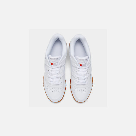 ae823e5d852 Back view of Men s Reebok Workout Plus Casual Shoes in White Carbon Classic  Red