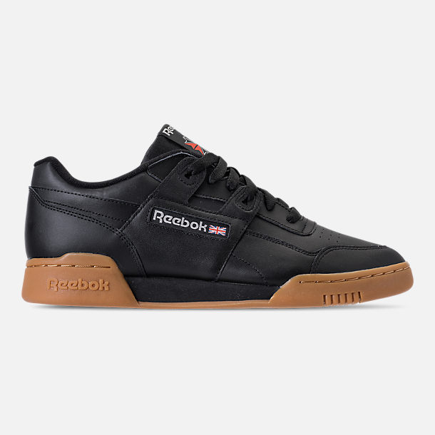 Right view of Men's Reebok Workout Plus Casual Shoes in Black/Carbon/Classic Red