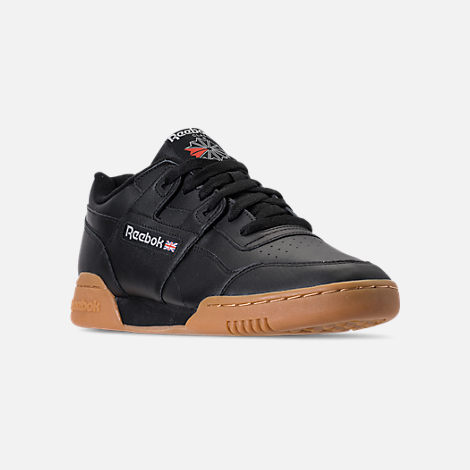 3bbf81112beb Three Quarter view of Men s Reebok Workout Plus Casual Shoes in  Black Carbon Classic