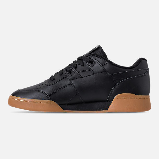 Left view of Men's Reebok Workout Plus Casual Shoes in Black/Carbon/Classic Red