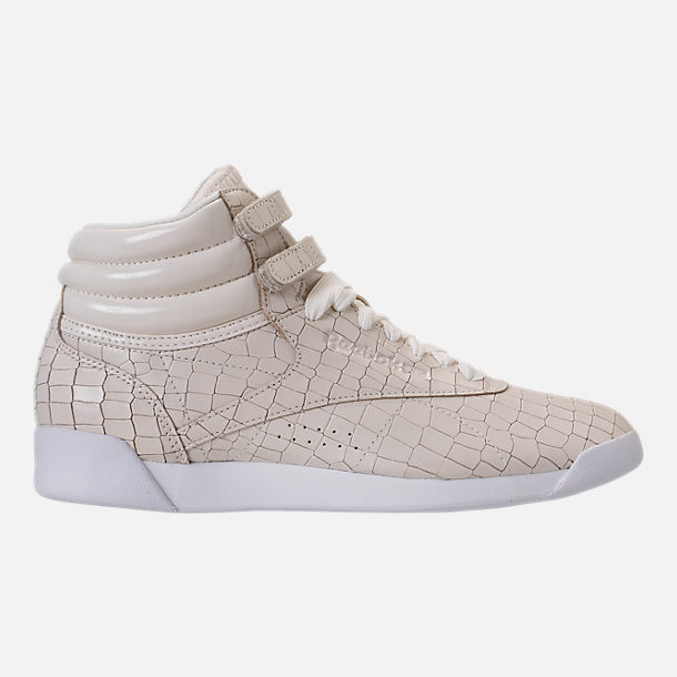 Right view of Women's Reebok Freestyle Hi Crackle Casual Shoes in Chalk/White