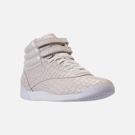 Three Quarter view of Women's Reebok Freestyle Hi Crackle Casual Shoes in Chalk/White