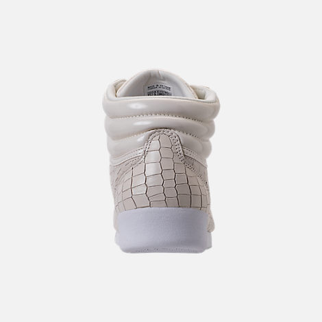 Back view of Women's Reebok Freestyle Hi Crackle Casual Shoes in Chalk/White