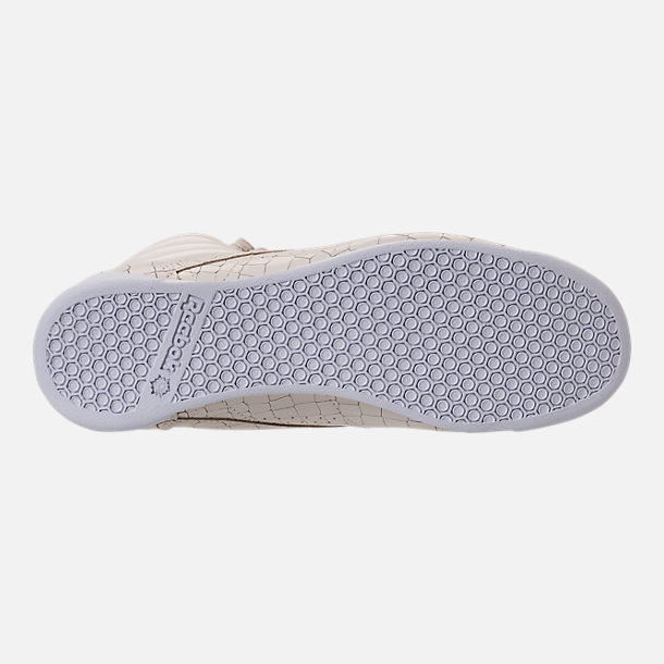 Bottom view of Women's Reebok Freestyle Hi Crackle Casual Shoes in Chalk/White