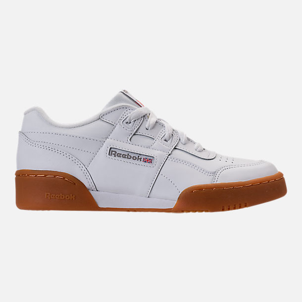 Right view of Boys' Grade School Reebok Classics Workout Plus Casual Shoes in White/Gum