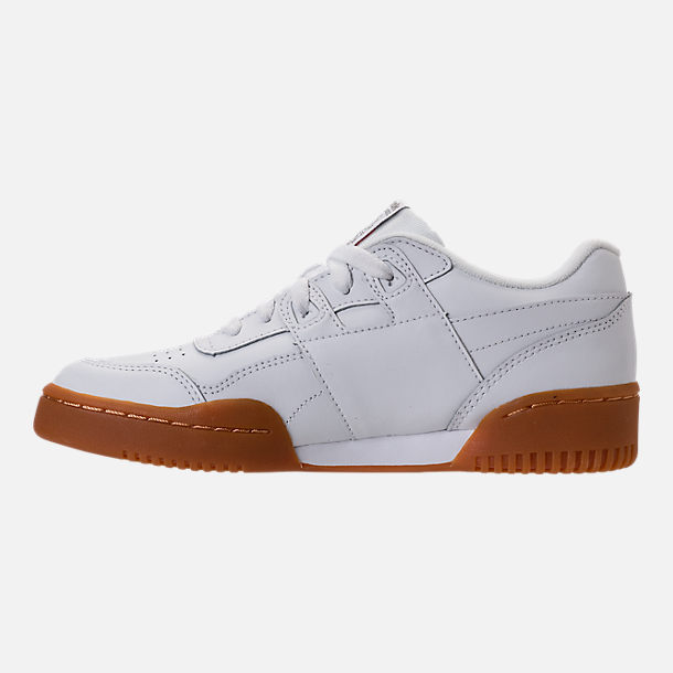 Left view of Boys' Grade School Reebok Classics Workout Plus Casual Shoes in White/Gum