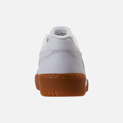 Back view of Boys' Grade School Reebok Classics Workout Plus Casual Shoes in White/Gum