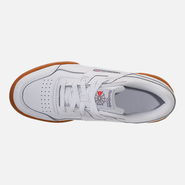 Top view of Boys' Big Kids' Reebok Classics Workout Plus Casual Shoes in White/Gum