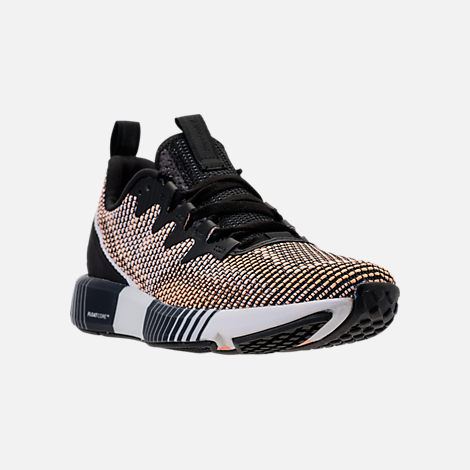 Three Quarter view of Women's Reebok Fusion Flexweave Training Shoes in Black/Desert Glow/White
