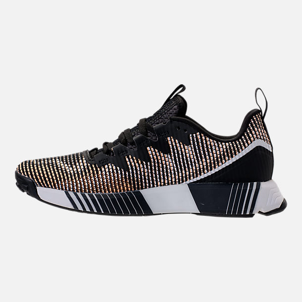 Left view of Women's Reebok Fusion Flexweave Training Shoes in Black/Desert Glow/White