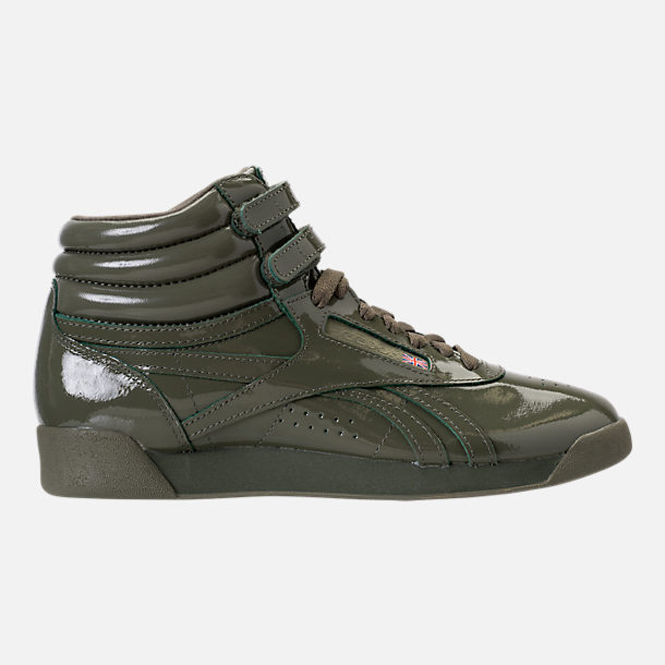 Right view of Women's Reebok Freestyle Hi Patent Casual Shoes in Hunter Green