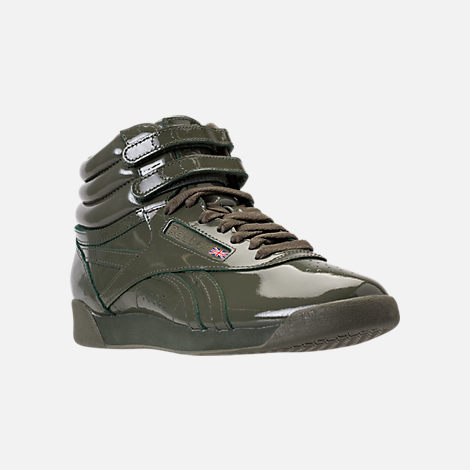 Three Quarter view of Women's Reebok Freestyle Hi Patent Casual Shoes in Hunter Green