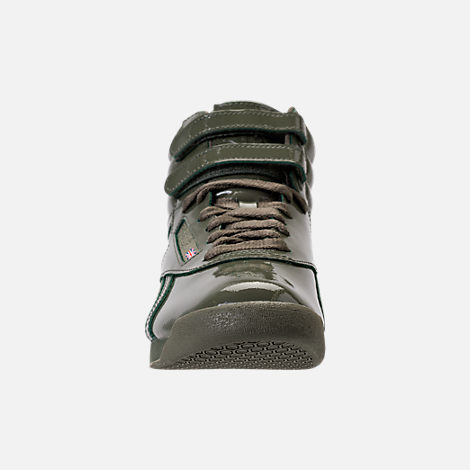 Front view of Women's Reebok Freestyle Hi Patent Casual Shoes in Hunter Green