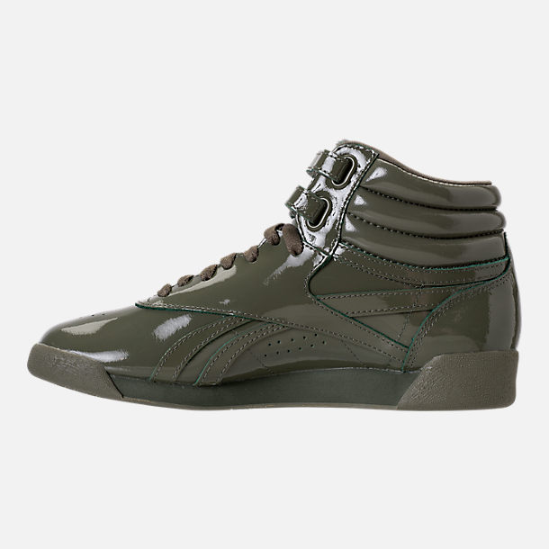 Left view of Women's Reebok Freestyle Hi Patent Casual Shoes in Hunter Green