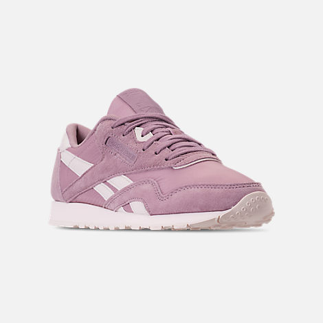 Three Quarter view of Women's Reebok Classic Nylon Slim Casual Shoes in Infused Lilac/Pale Pink