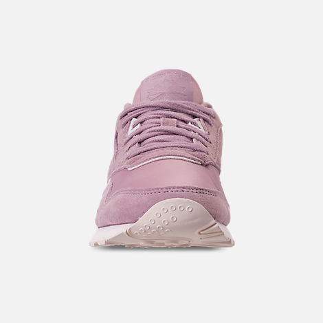 Front view of Women's Reebok Classic Nylon Slim Casual Shoes in Infused Lilac/Pale Pink