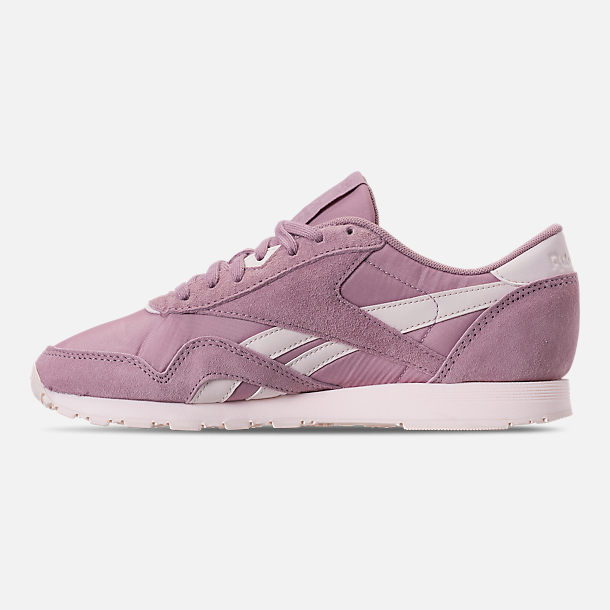 Left view of Women's Reebok Classic Nylon Slim Casual Shoes in Infused Lilac/Pale Pink