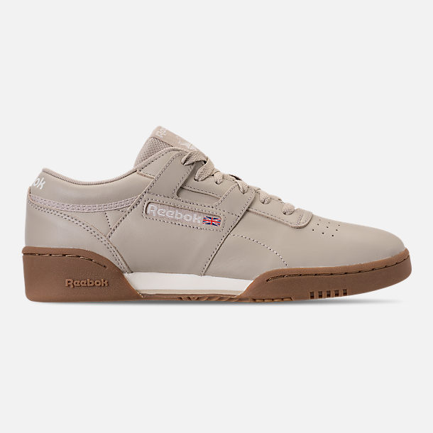 Right view of Men's Reebok Workout Clean Casual Shoes in Parchment/Chalk/Gum