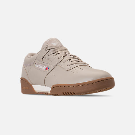 Three Quarter view of Men's Reebok Workout Clean Casual Shoes in Parchment/Chalk/Gum