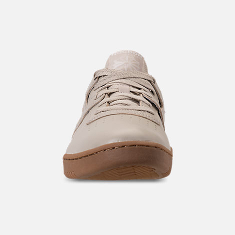 Front view of Men's Reebok Workout Clean Casual Shoes in Parchment/Chalk/Gum
