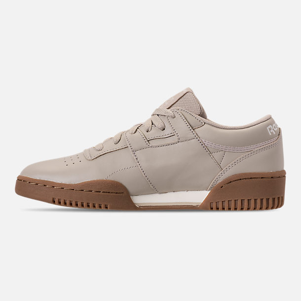 Left view of Men's Reebok Workout Clean Casual Shoes in Parchment/Chalk/Gum