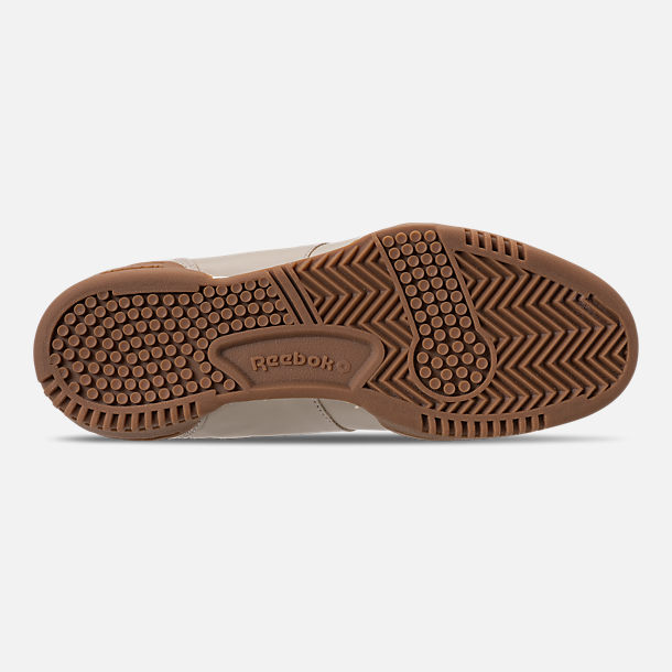 Bottom view of Men's Reebok Workout Clean Casual Shoes in Parchment/Chalk/Gum